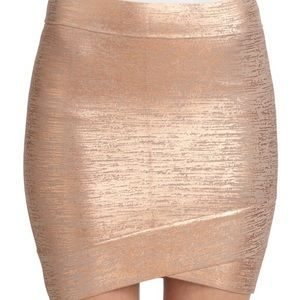 BCBGMaxazria Rose Gold Bandage Mini Skirt